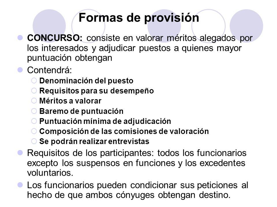 Formas de provisión CONCURSO: consiste en valorar méritos alegados por los interesados y adjudicar puestos a quienes mayor puntuación obtengan.
