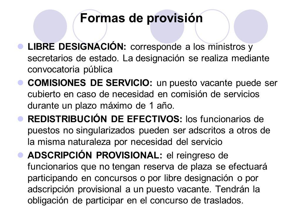 Formas de provisión LIBRE DESIGNACIÓN: corresponde a los ministros y secretarios de estado. La designación se realiza mediante convocatoria pública.