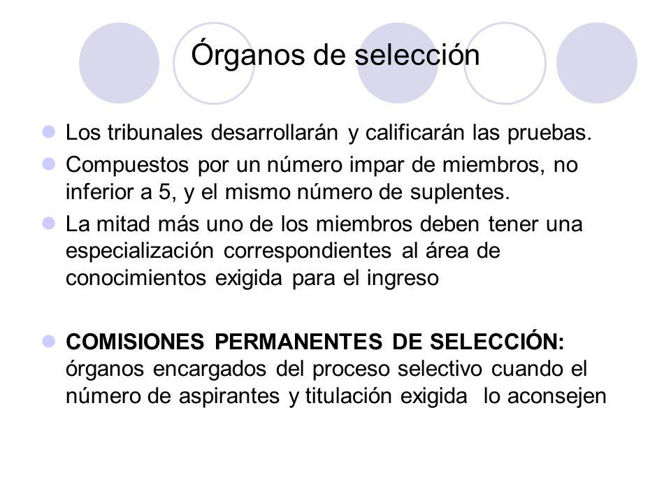 Órganos de selección Los tribunales desarrollarán y calificarán las pruebas.