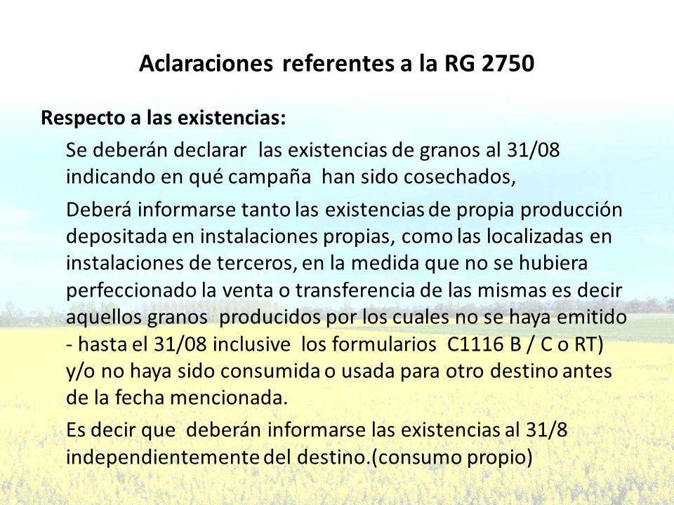 Aclaraciones referentes a la RG 2750