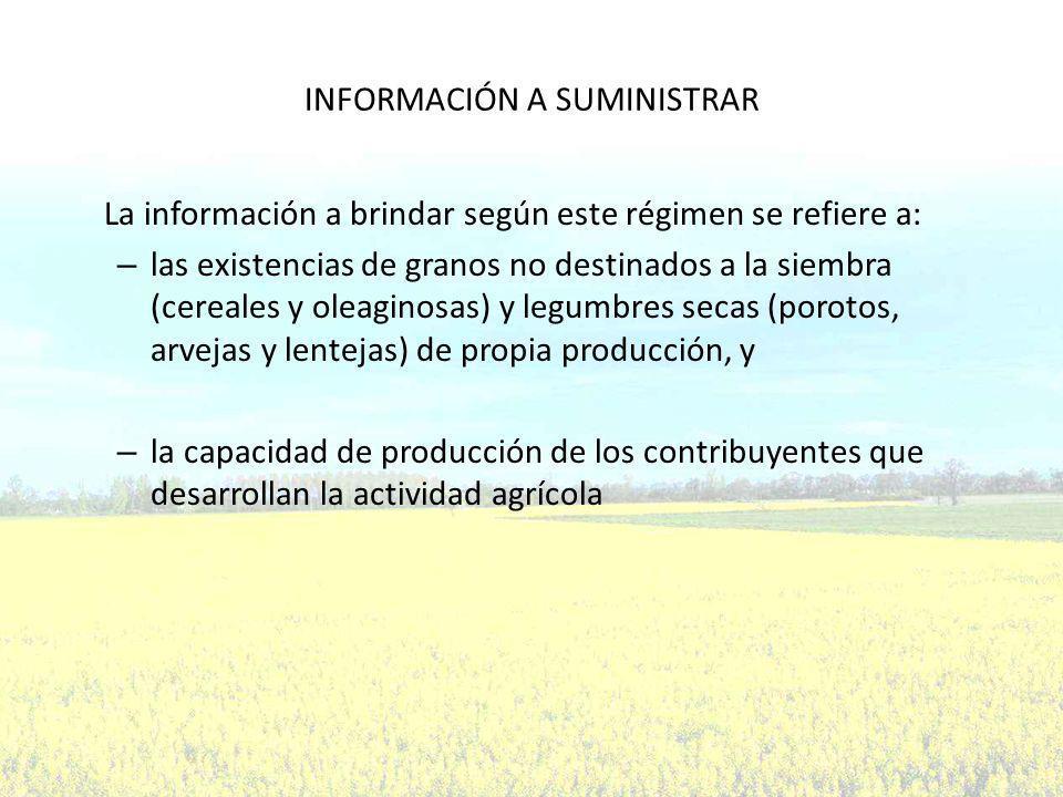 INFORMACIÓN A SUMINISTRAR