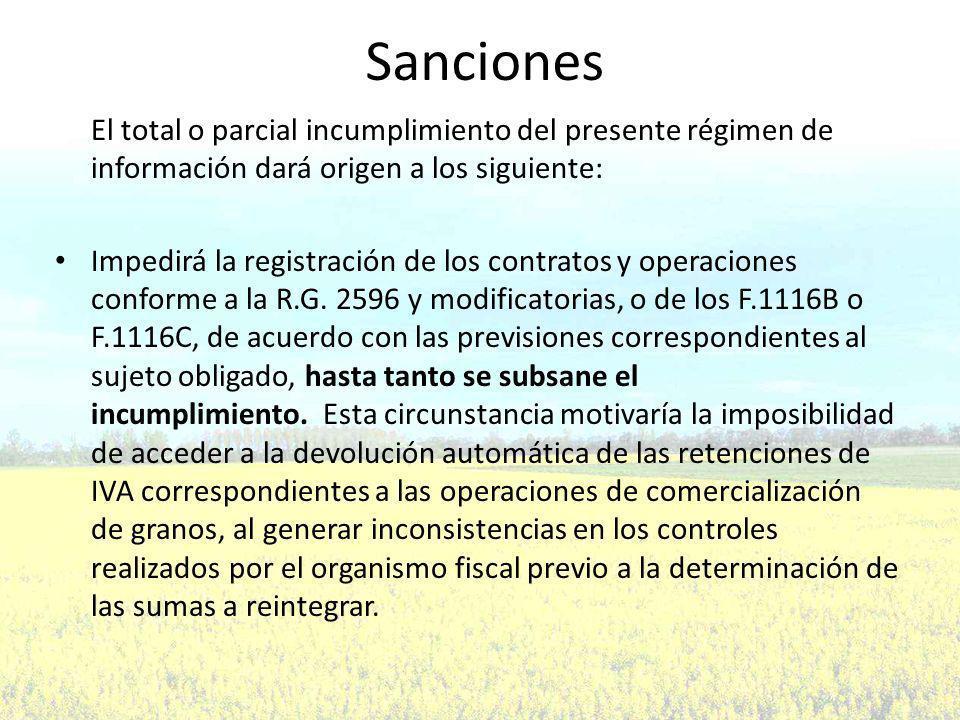Sanciones El total o parcial incumplimiento del presente régimen de información dará origen a los siguiente: