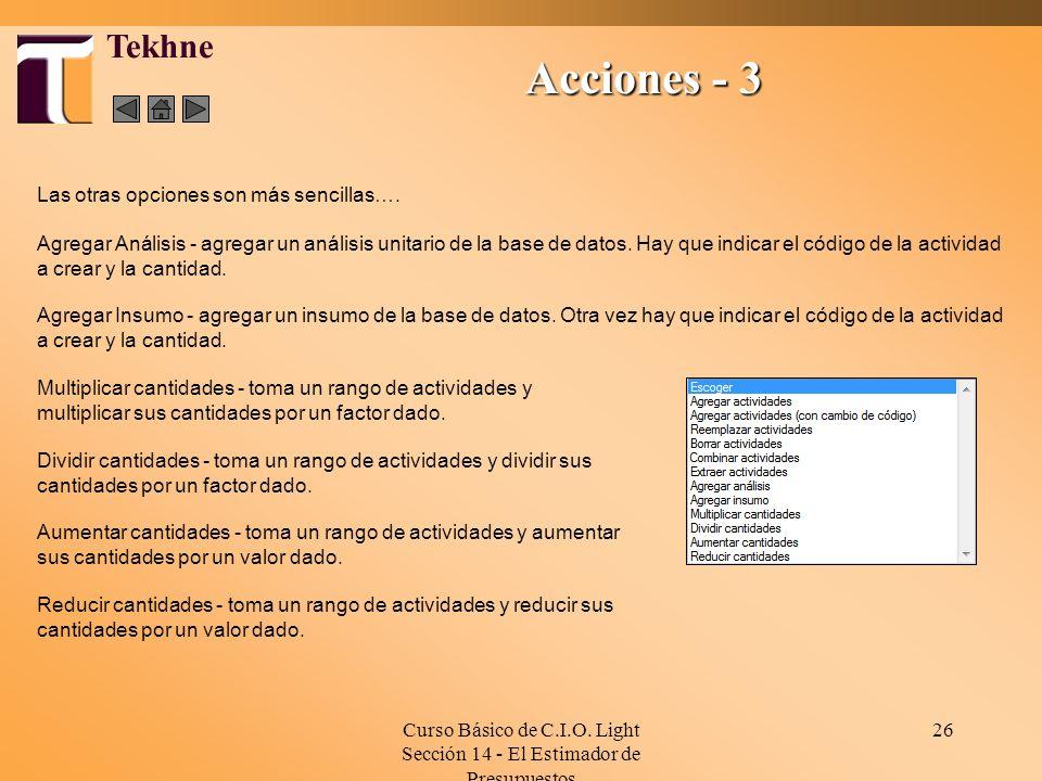 Curso Básico de C.I.O. Light Sección 14 - El Estimador de Presupuestos