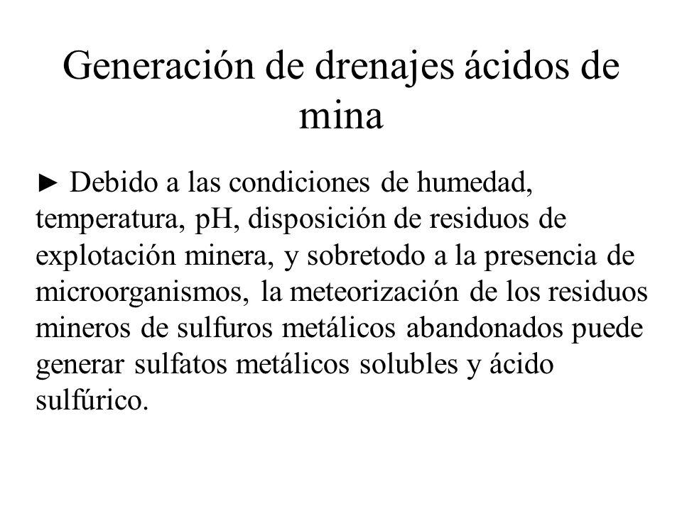 Generación de drenajes ácidos de mina