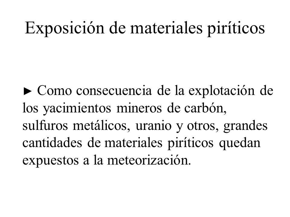 Exposición de materiales piríticos