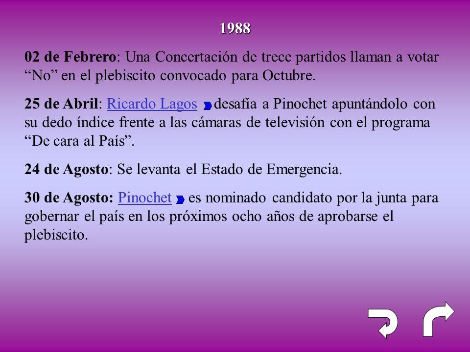 1988 02 de Febrero: Una Concertación de trece partidos llaman a votar No en el plebiscito convocado para Octubre.
