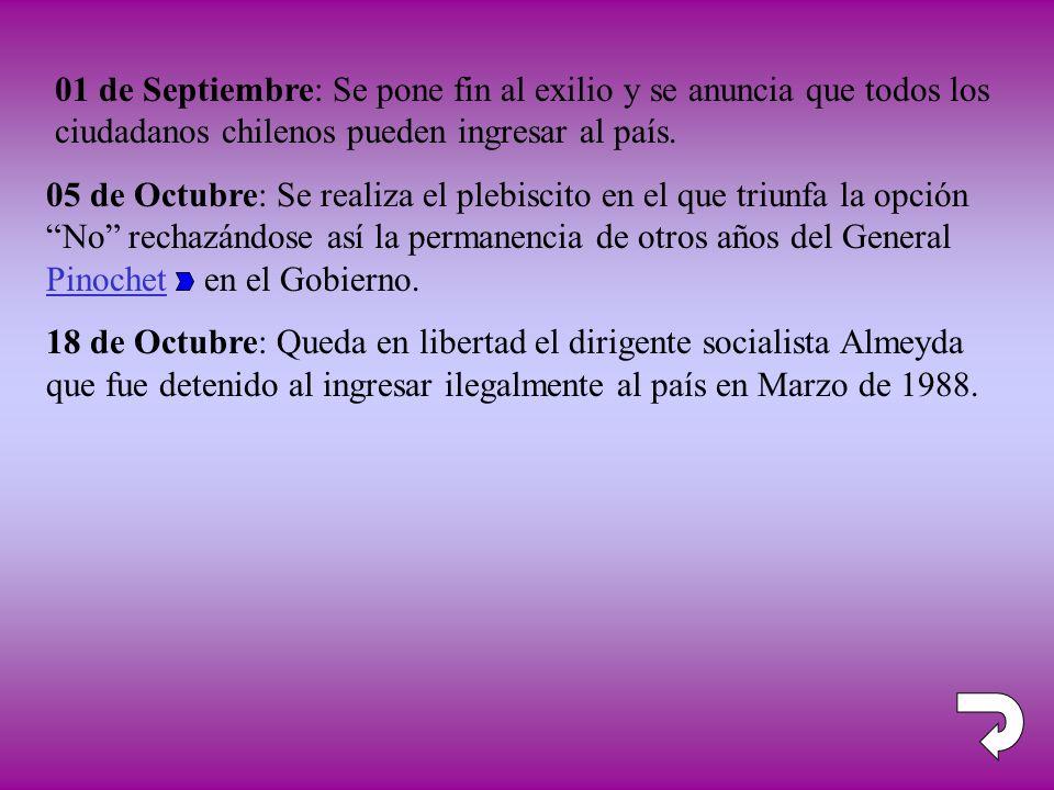 01 de Septiembre: Se pone fin al exilio y se anuncia que todos los ciudadanos chilenos pueden ingresar al país.