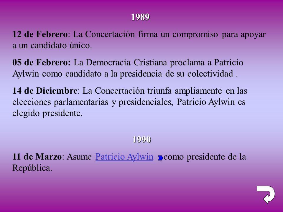 1989 12 de Febrero: La Concertación firma un compromiso para apoyar a un candidato único.