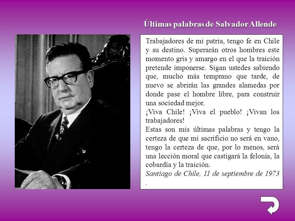 Últimas palabras de Salvador Allende