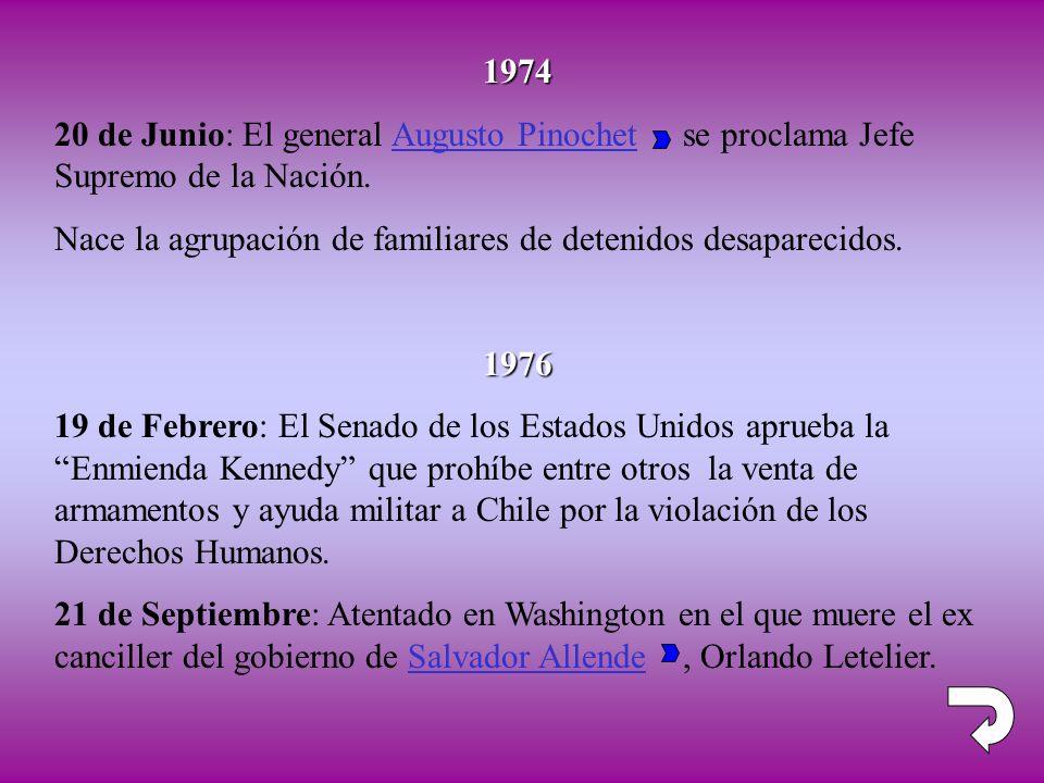 1974 20 de Junio: El general Augusto Pinochet se proclama Jefe Supremo de la Nación.