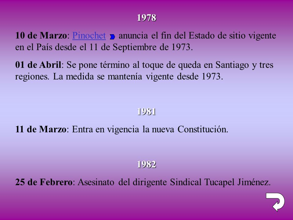 1978 10 de Marzo: Pinochet anuncia el fin del Estado de sitio vigente en el País desde el 11 de Septiembre de 1973.