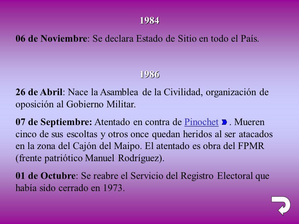 1984 06 de Noviembre: Se declara Estado de Sitio en todo el País. 1986.