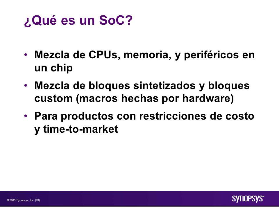 ¿Qué es un SoC Mezcla de CPUs, memoria, y periféricos en un chip
