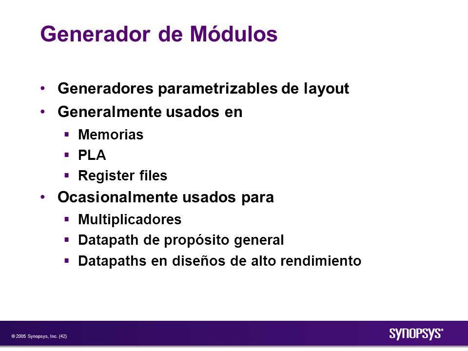 Generador de Módulos Generadores parametrizables de layout
