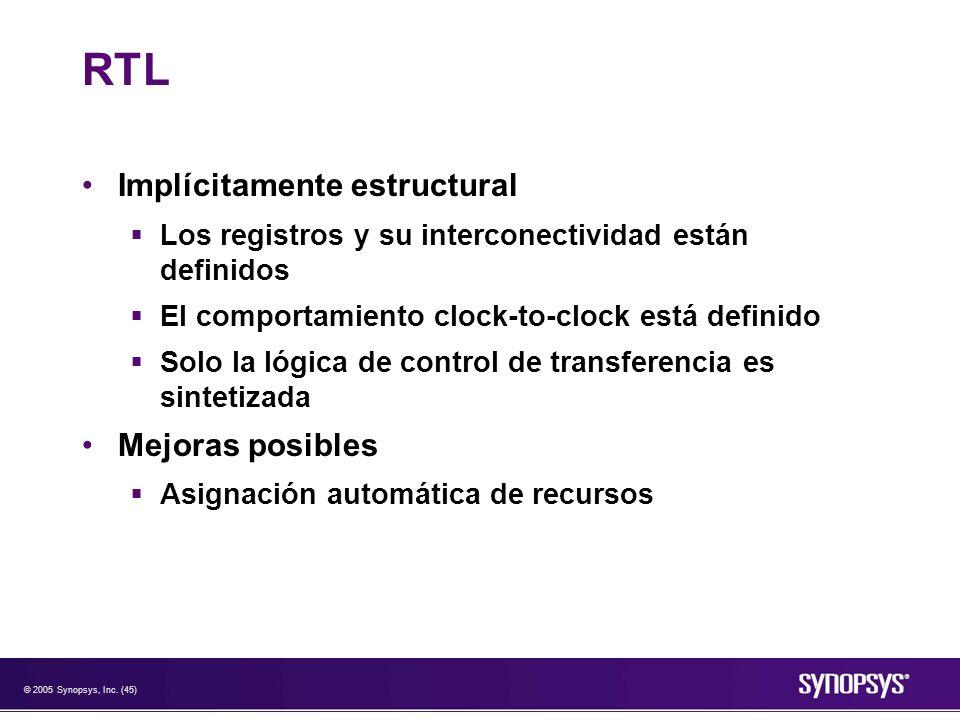 RTL Implícitamente estructural Mejoras posibles