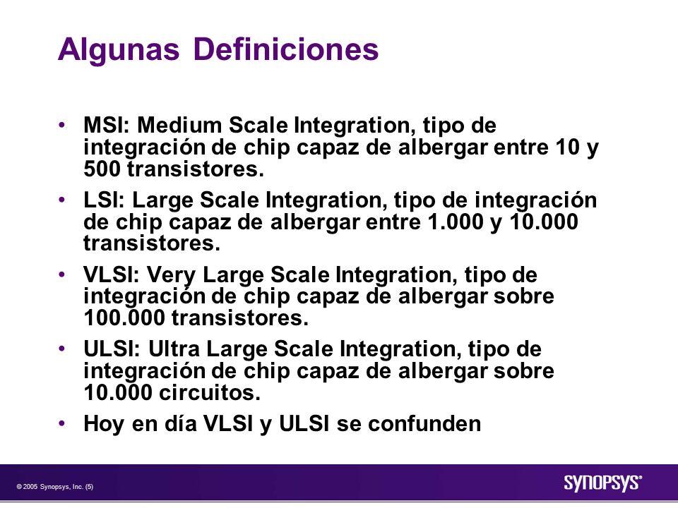 Algunas Definiciones MSI: Medium Scale Integration, tipo de integración de chip capaz de albergar entre 10 y 500 transistores.