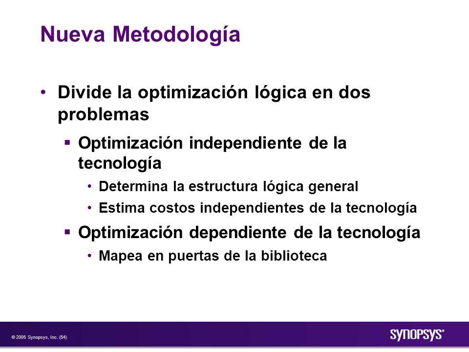 Nueva Metodología Divide la optimización lógica en dos problemas