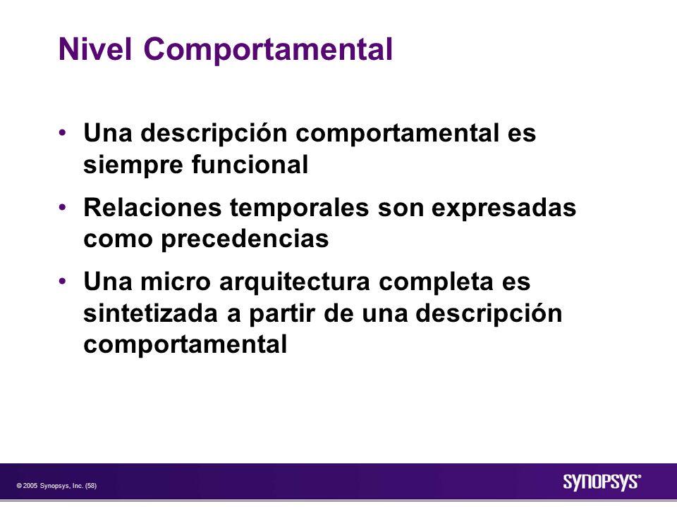 Nivel Comportamental Una descripción comportamental es siempre funcional. Relaciones temporales son expresadas como precedencias.