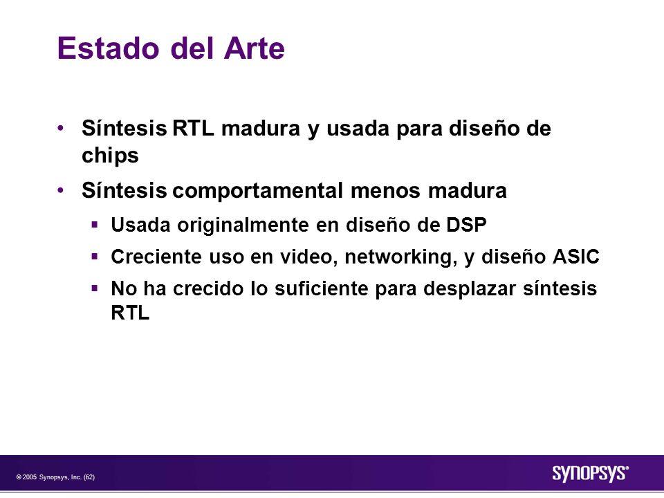 Estado del Arte Síntesis RTL madura y usada para diseño de chips