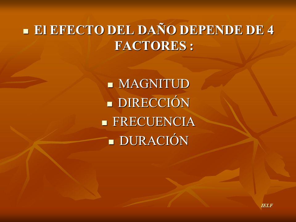 El EFECTO DEL DAÑO DEPENDE DE 4 FACTORES :