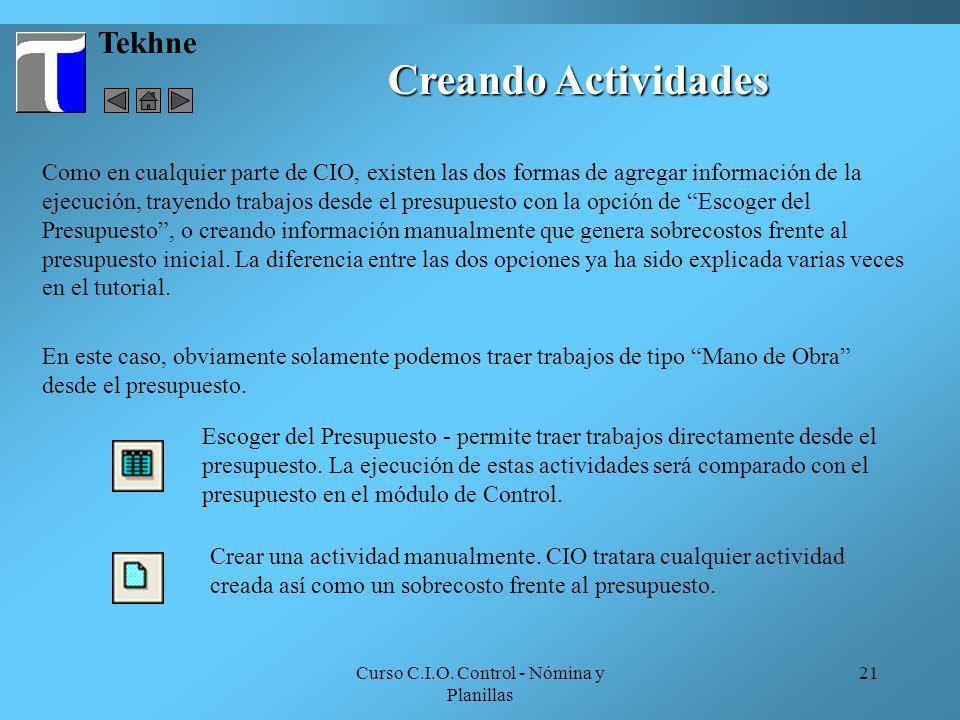 Curso C.I.O. Control - Nómina y Planillas