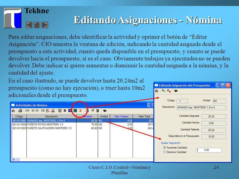 Editando Asignaciones - Nómina