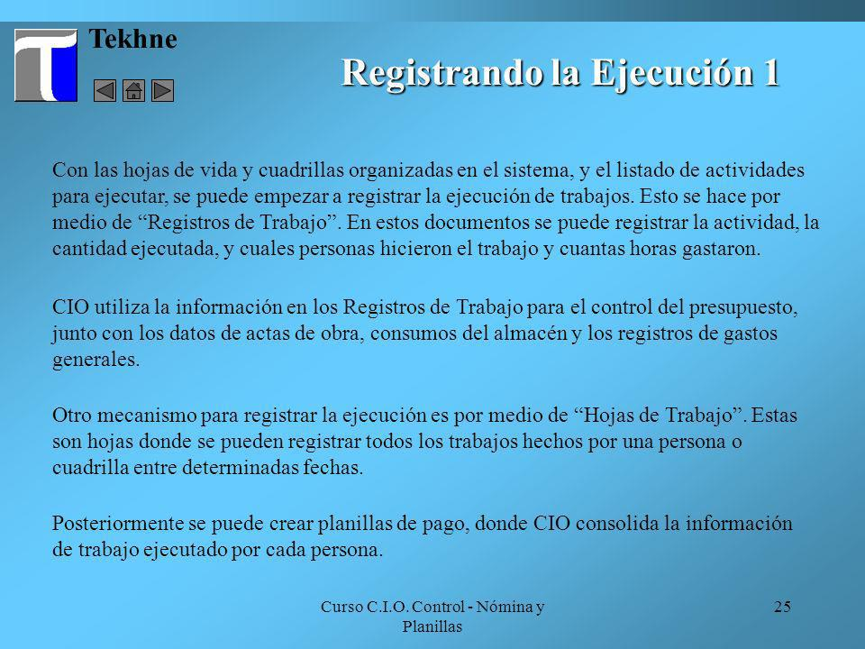 Registrando la Ejecución 1