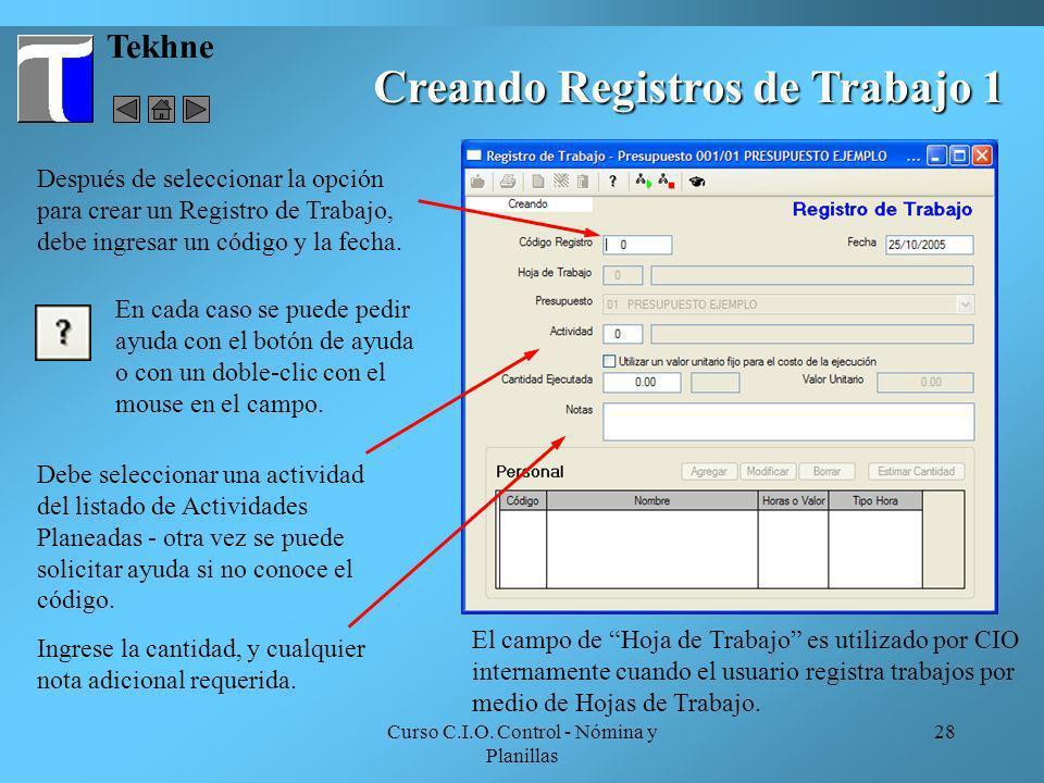 Creando Registros de Trabajo 1