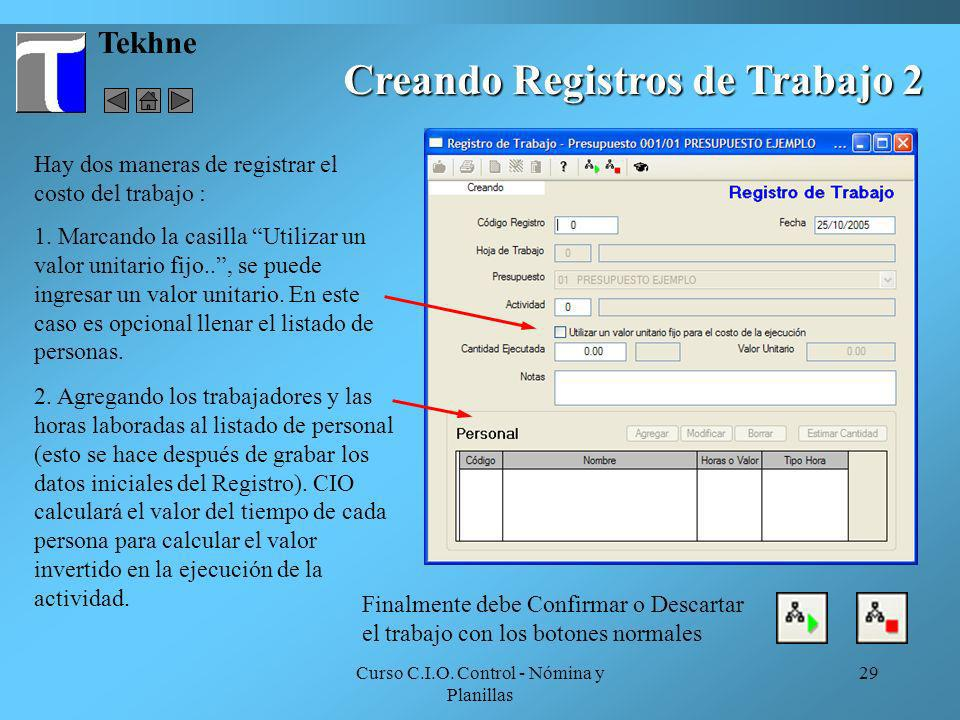 Creando Registros de Trabajo 2