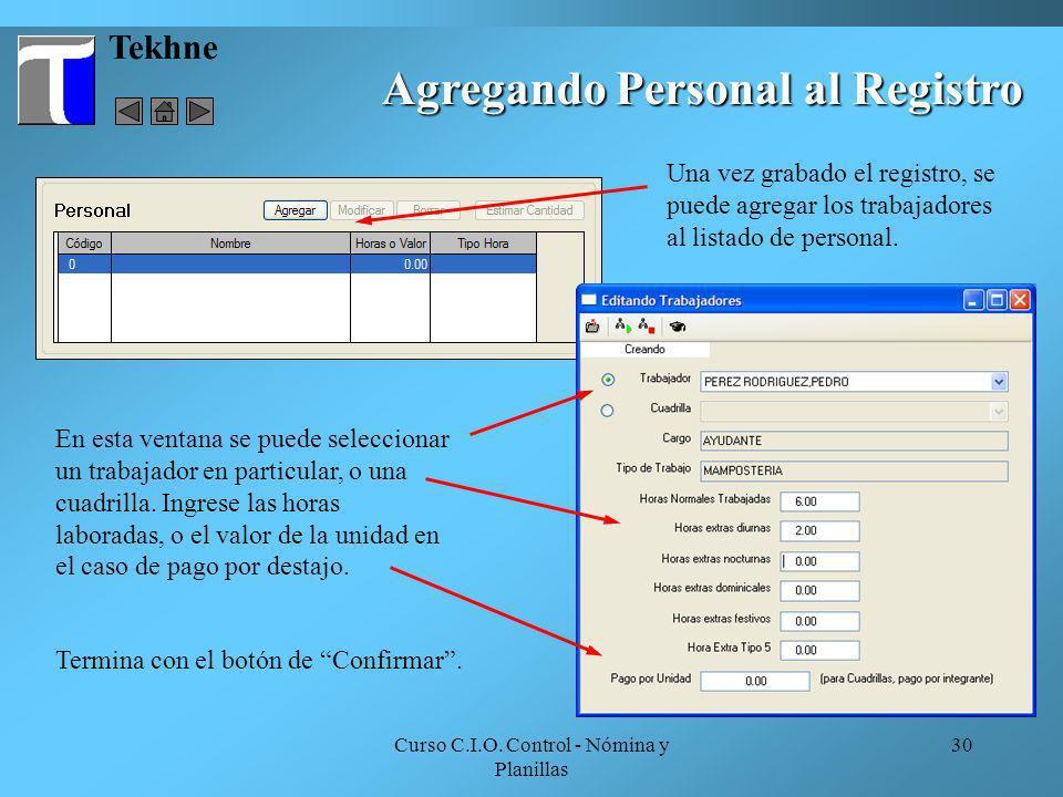 Agregando Personal al Registro