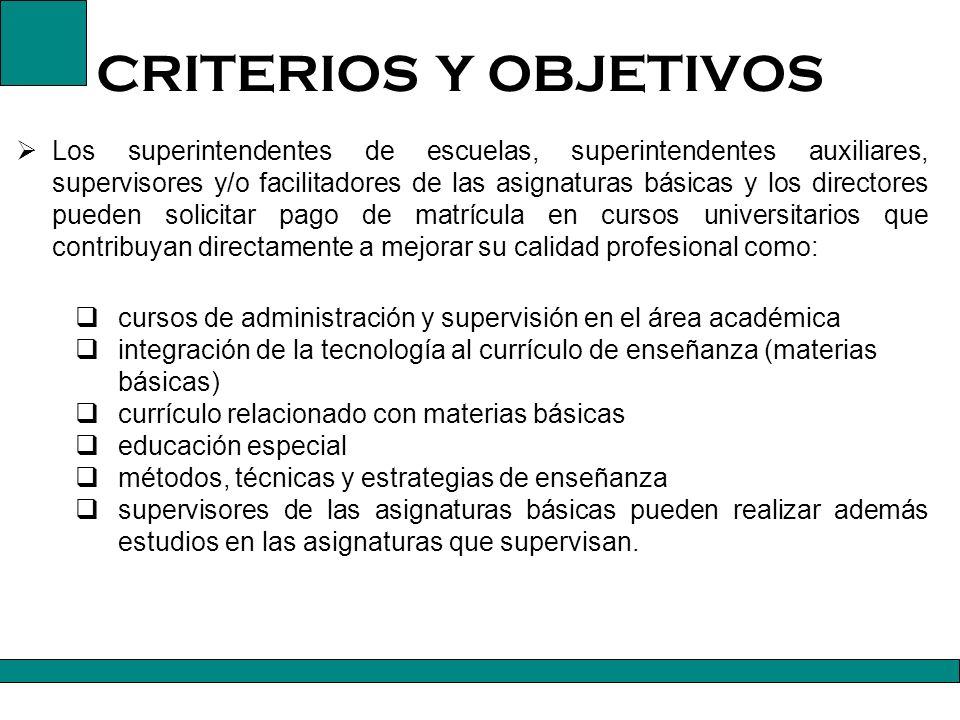 CRITERIOS Y OBJETIVOS