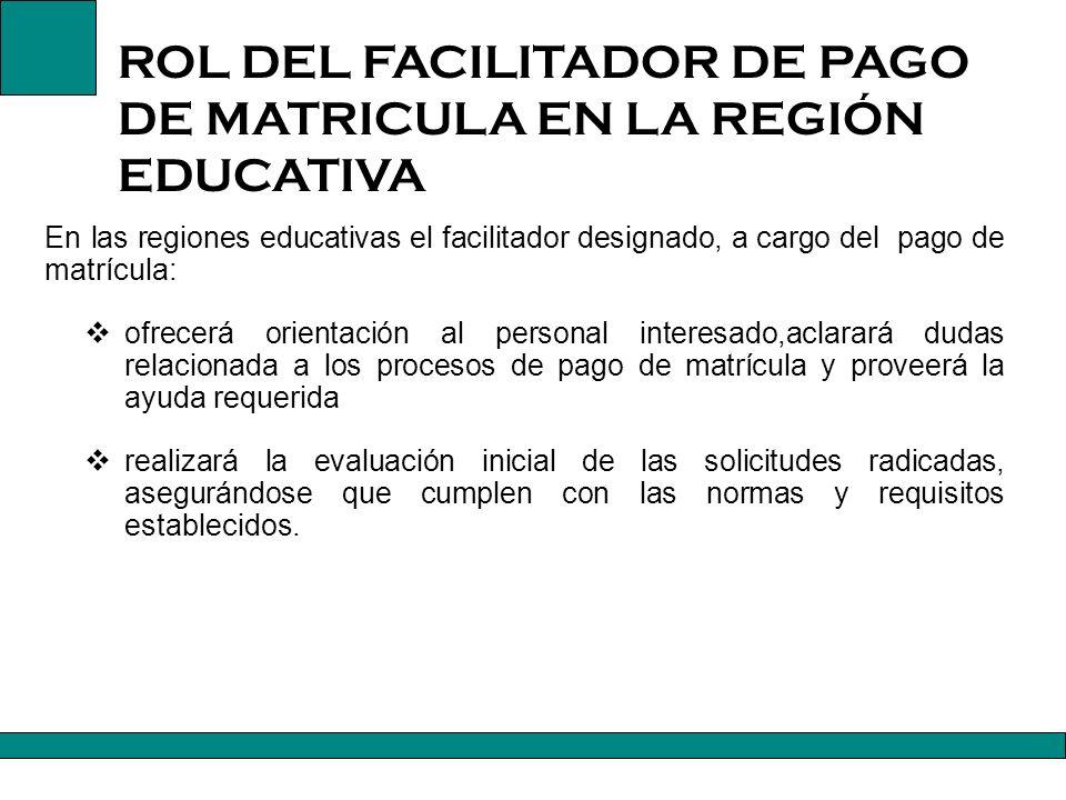 ROL DEL FACILITADOR DE PAGO DE MATRICULA EN LA REGIÓN EDUCATIVA