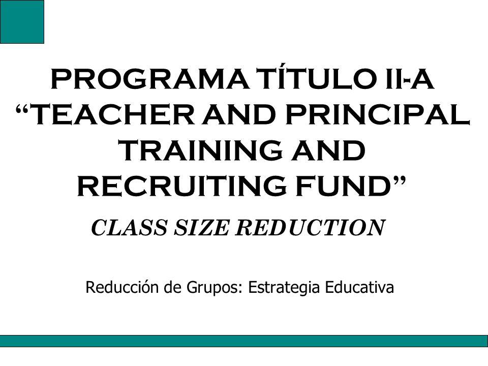 Reducción de Grupos: Estrategia Educativa