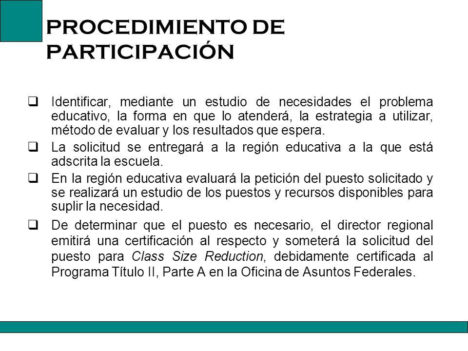 PROCEDIMIENTO DE PARTICIPACIÓN