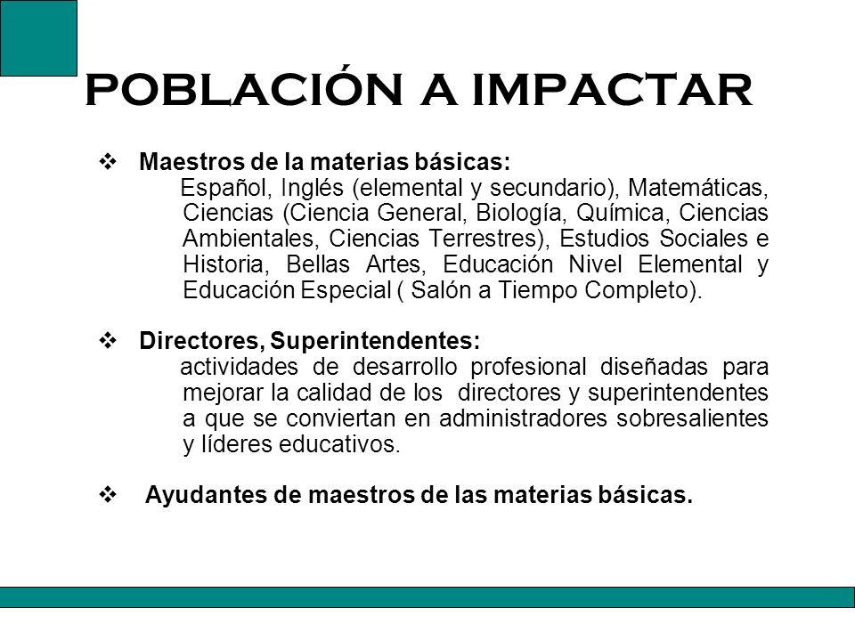 POBLACIÓN A IMPACTAR Maestros de la materias básicas: