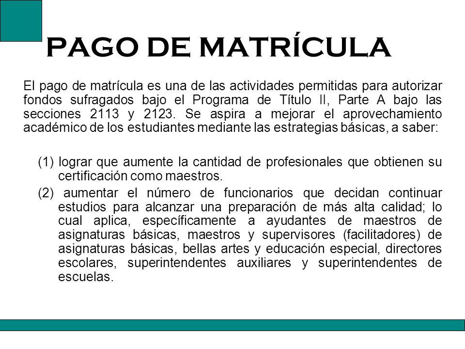 PAGO DE MATRÍCULA