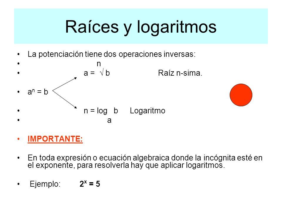 Raíces y logaritmos La potenciación tiene dos operaciones inversas: n