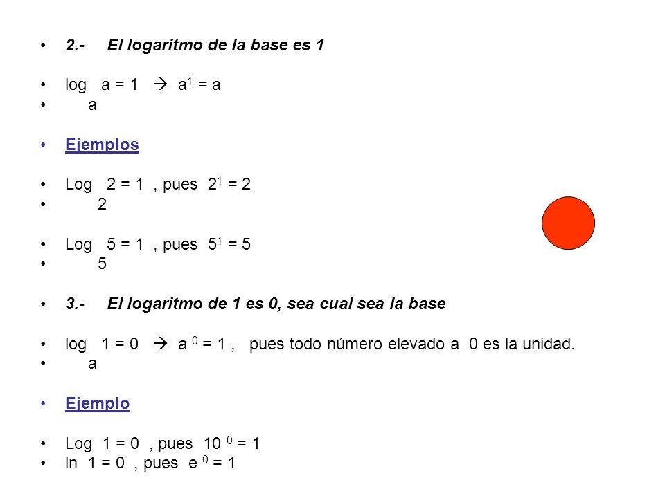 2.- El logaritmo de la base es 1