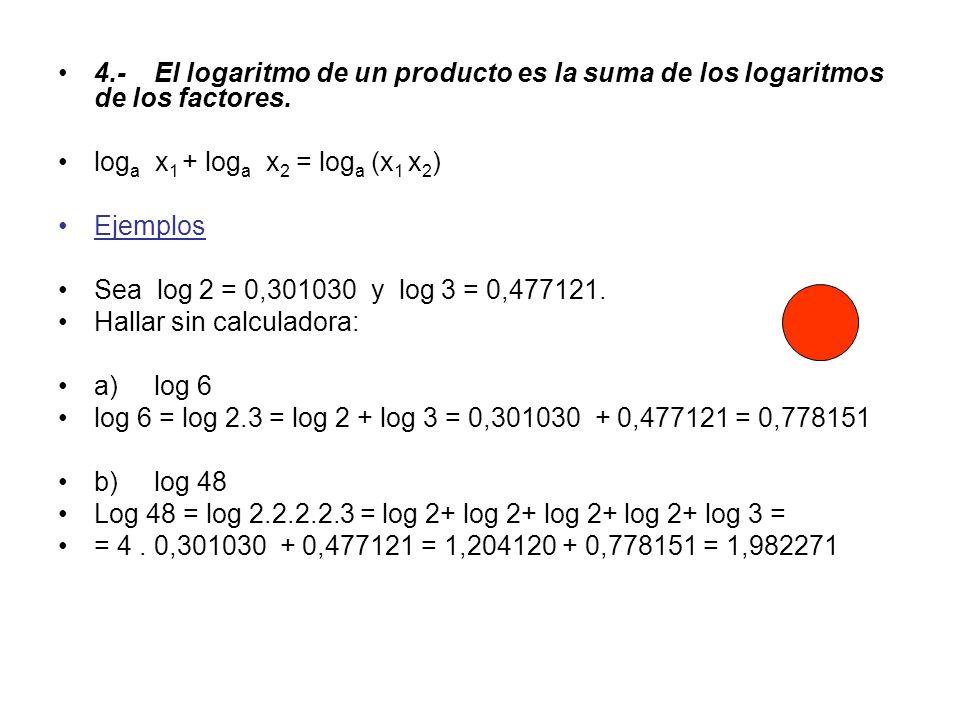 4.- El logaritmo de un producto es la suma de los logaritmos de los factores.
