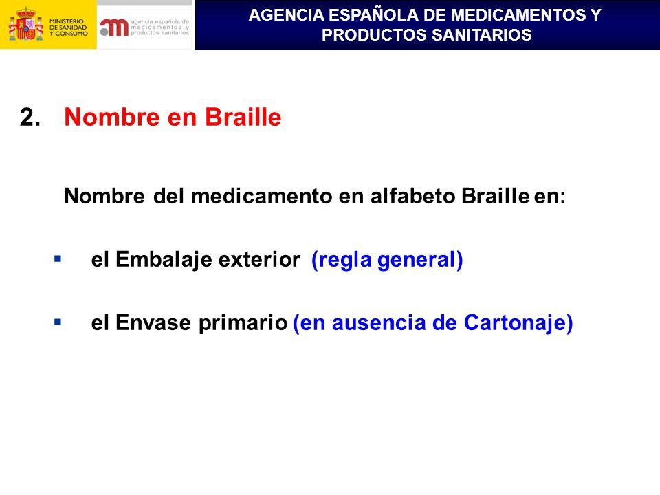 Nombre en Braille Nombre del medicamento en alfabeto Braille en: