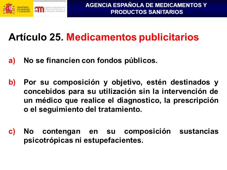 Artículo 25. Medicamentos publicitarios