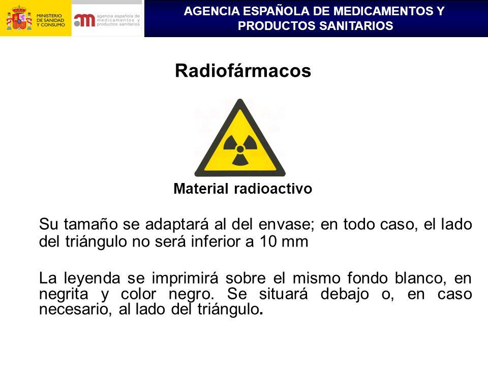 Radiofármacos Material radioactivo. Su tamaño se adaptará al del envase; en todo caso, el lado del triángulo no será inferior a 10 mm.