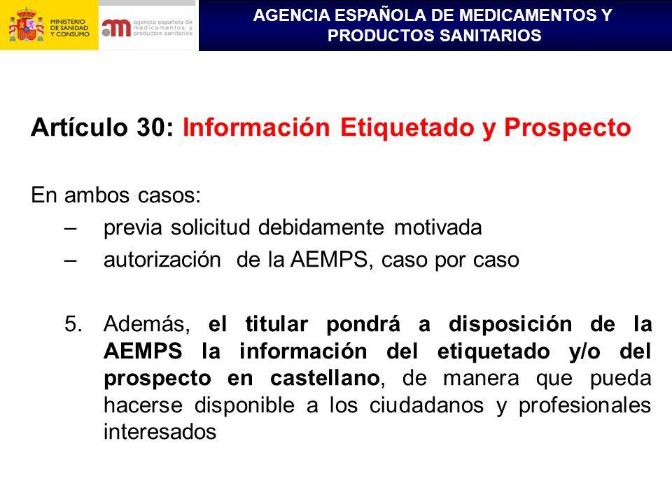 Artículo 30: Información Etiquetado y Prospecto