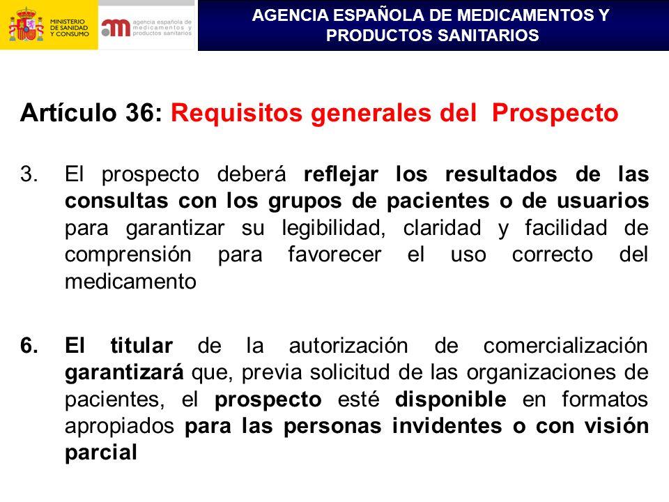 Artículo 36: Requisitos generales del Prospecto