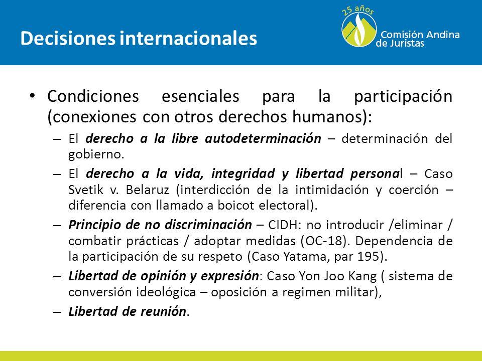 Decisiones internacionales