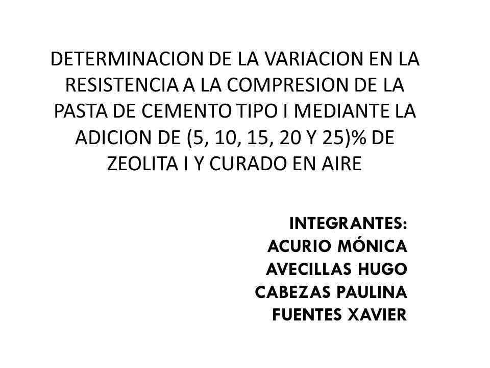 DETERMINACION DE LA VARIACION EN LA RESISTENCIA A LA COMPRESION DE LA PASTA DE CEMENTO TIPO I MEDIANTE LA ADICION DE (5, 10, 15, 20 Y 25)% DE ZEOLITA I Y CURADO EN AIRE