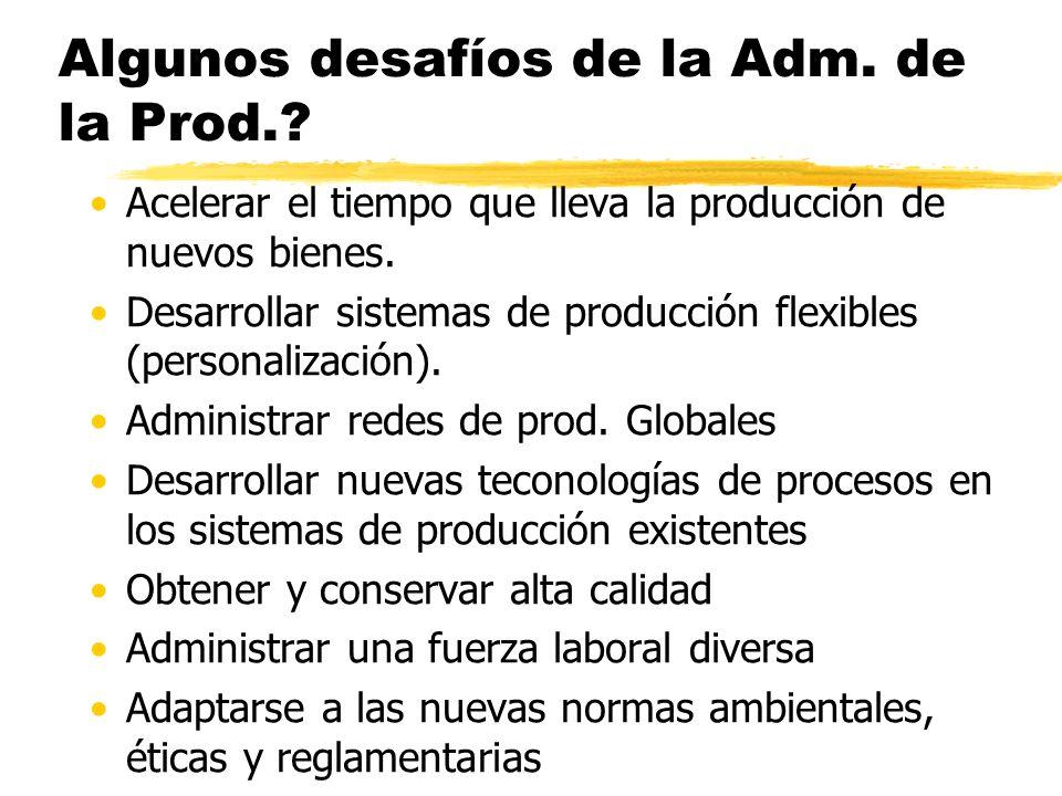 Algunos desafíos de la Adm. de la Prod.