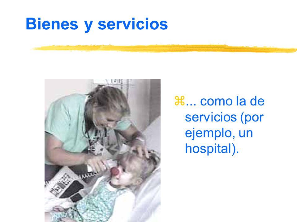 Bienes y servicios ... como la de servicios (por ejemplo, un hospital).
