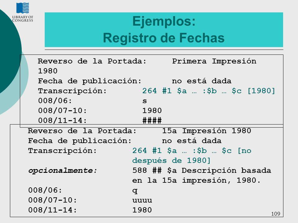 Ejemplos: Registro de Fechas