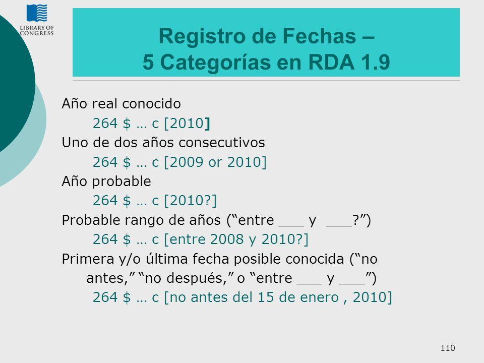 Registro de Fechas – 5 Categorías en RDA 1.9